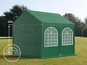 3x4m Marquee / Party Tent w. Groundbar, PVC 550 g/m², dark green