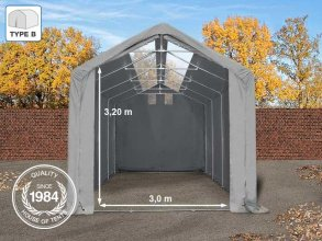 4x8m 3m Sides Storage Tent / Shelter w. Groundbar and Skylights, PVC 550 g/m², 3x3.2m Drive Through, grey