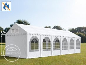 3x12m 2.6m Sides Marquee / Party Tent w. Groundbar, PVC 550 g/m² fire resistant, white