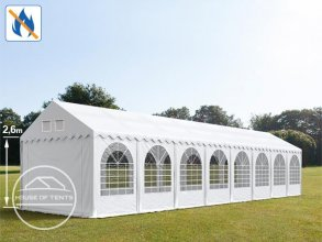 4x16m 2.6m Sides Marquee / Party Tent w. Groundbar, PVC 550 g/m² fire resistant, white