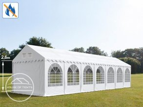 3x14m 2.6m Sides Marquee / Party Tent w. Groundbar, PVC 550 g/m² fire resistant, white