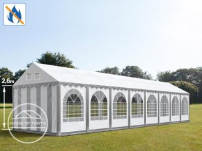 4x16m 2.6m Sides Marquee / Party Tent w. Groundbar, PVC 550 g/m² fire resistant, grey-white