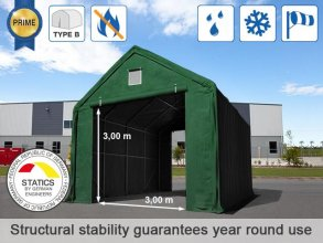4x8m 3x3m Drive Through Storage Tent / Shelter, PVC 720g/m² fire resistant, dark green