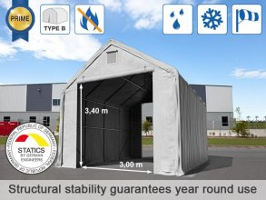 5x10m 3x3.4m Drive Through Storage Tent / Shelter, PVC 720g/m² fire resistant, grey
