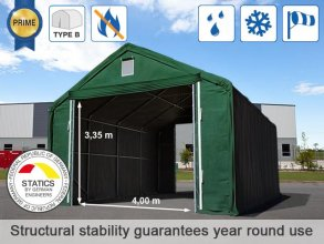 6x12m 4x3.35m Drive Through Storage Tent / Shelter, PVC 720g/m² fire resistant, dark green