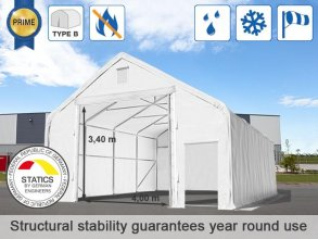 8x16m 4x3.4m Drive Through 720g/m² PVC Storage Tent / Shelter, fire resistant, white