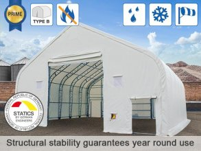 12.2x12m 4.73x5.3m Drive Through Storage Tent / Shelter, PVC 720g/m² fire resistant, white