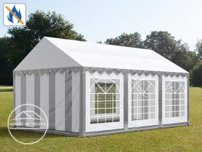 4x6m Marquee / Party Tent, PVC 500 g/m² fire resistant, grey-white