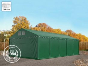 5x10m 2.6m Sides Storage Tent / Shelter w. Groundbar, PVC 550 g/m², dark green