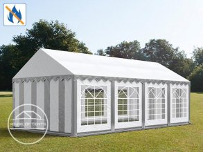 4x8m Marquee / Party Tent, PVC 500 g/m² fire resistant, grey-white