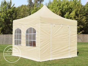 3x3m PES PopUp Gazebo incl. Sidewalls / Canopy, with Windows, cream