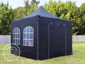 3x3m PES PopUp Gazebo incl. Sidewalls / Canopy, with Windows, black