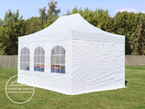3x4.5m PES PopUp Gazebo incl. Sidewalls / Canopy, with Windows, white