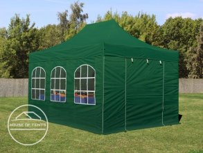 3x4.5m PES PopUp Gazebo incl. Sidewalls / Canopy, with Windows, dark green
