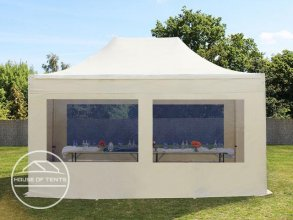 3x4,5m PES PopUp Gazebo incl. Sidewalls / Canopy, with Panorama Window, cream