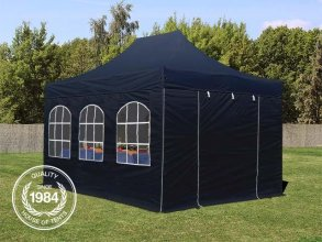 3x4,5m PES PopUp Gazebo incl. Sidewalls / Canopy, with Windows, black