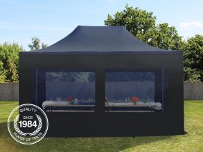 3x4,5m PES PopUp Gazebo incl. Sidewalls / Canopy, with Panorama Window, black