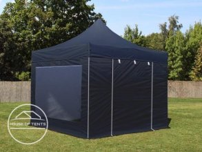 3x3m PES PopUp Gazebo incl. Sidewalls / Canopy, with Panorama Window, black