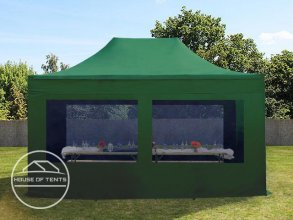 3x4,5m PES PopUp Gazebo incl. Sidewalls / Canopy, with Panorama Window, dark green