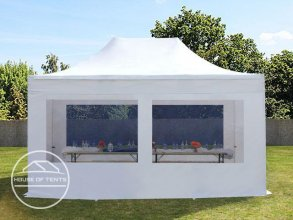 3x4,5m PES PopUp Gazebo incl. Sidewalls / Canopy, with Panorama Window, white