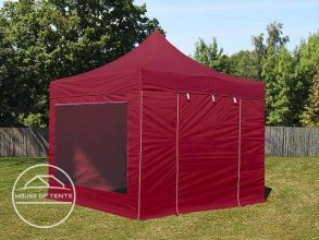 3x3m PES PopUp Gazebo incl. Sidewalls / Canopy, with Panorama Window, red