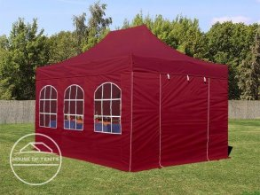 3x4.5m PES PopUp Gazebo incl. Sidewalls / Canopy, with Windows, red