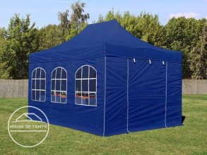3x4.5m PES PopUp Gazebo incl. Sidewalls / Canopy, with Windows, blue