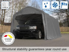 3.3x4.8m Carport Tent / Portable Garage, PVC 550 g/m², grey