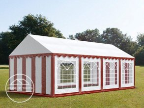 4x8m Marquee / Party Tent, PVC 500 g/m², red-white