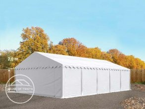 5x10m Storage Tent / Shelter w. Groundbar, PVC 500 g/m², white