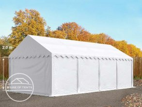 4x8m Storage Tent / Shelter w. Groundbar, PVC 500 g/m², white