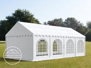 3x8m Marquee / Party Tent w. Groundbar, PVC 500 g/m², white