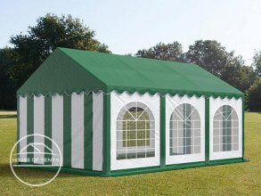 3x6m Marquee / Party Tent w. Groundbar, PVC 500 g/m², green-white