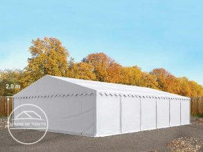 8x12m Storage Tent / Shelter w. Groundbar, PVC 500 g/m², white