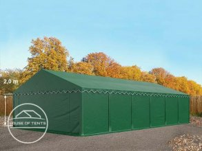 6x12m Storage Tent / Shelter w. Groundbar, PVC 500 g/m², dark green