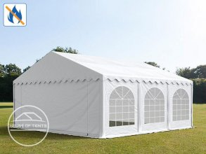 5x6m Marquee / Party Tent w. Groundbar, PVC 500 g/m² fire resistant, white