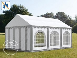 4x6m Marquee / Party Tent w. Groundbar, PVC 500 g/m² fire resistant, grey-white
