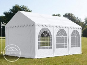 3x6m Marquee / Party Tent w. Groundbar, PVC 550 g/m², white