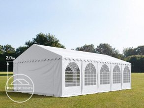 5x10m Marquee / Party Tent w. Groundbar, PVC 550 g/m², white