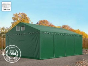 5x8m 2.6m Sides Storage Tent / Shelter w. Groundbar, PVC 550 g/m², dark green