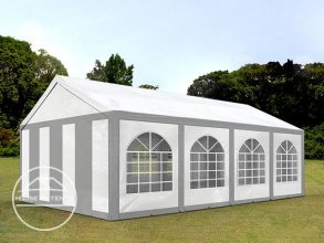 4x8m Marquee / Party Tent, PE 240 g/m², grey-white