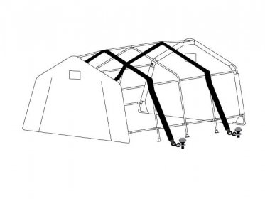 Storm Protection Kit for Portable Garages with 2x15m Tension belts + Pegs (for soft grounds)
