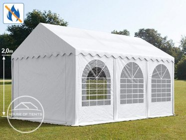 4x6m Marquee / Party Tent w. ground frame, PVC 550 g/m² fire resistant, white