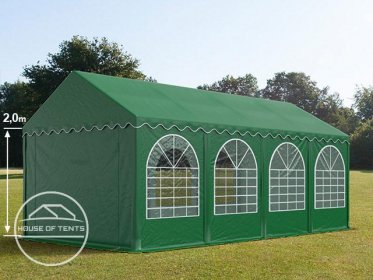 4x8m Marquee / Party Tent w. Groundbar, PVC 550 g/m², dark green