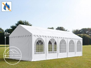 4x10m Marquee / Party Tent w. ground frame, PVC 550 g/m² fire resistant, white