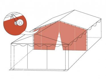 Separation Wall for 5m wide Tents (2.6m Side Height), 3 Zippers, Fire Resistant, white