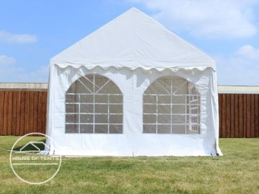 Gable End for 4m wide / 2m Side Height Marquees, with windows, white