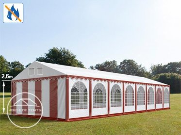 6x24m 2.6m Sides Marquee / Party Tent w. ground frame, PVC 550 g/m² fire resistant, red-white