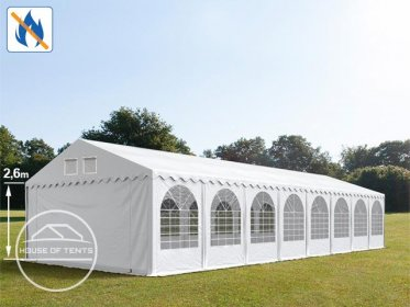 6x26m 2.6m Sides Marquee / Party Tent w. Groundbar, PVC 550 g/m² fire resistant, white