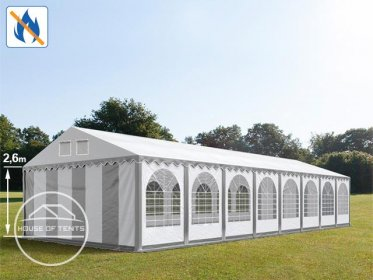 6x28m 2.6m Sides Marquee / Party Tent w. Groundbar, PVC 550 g/m² fire resistant, grey-white